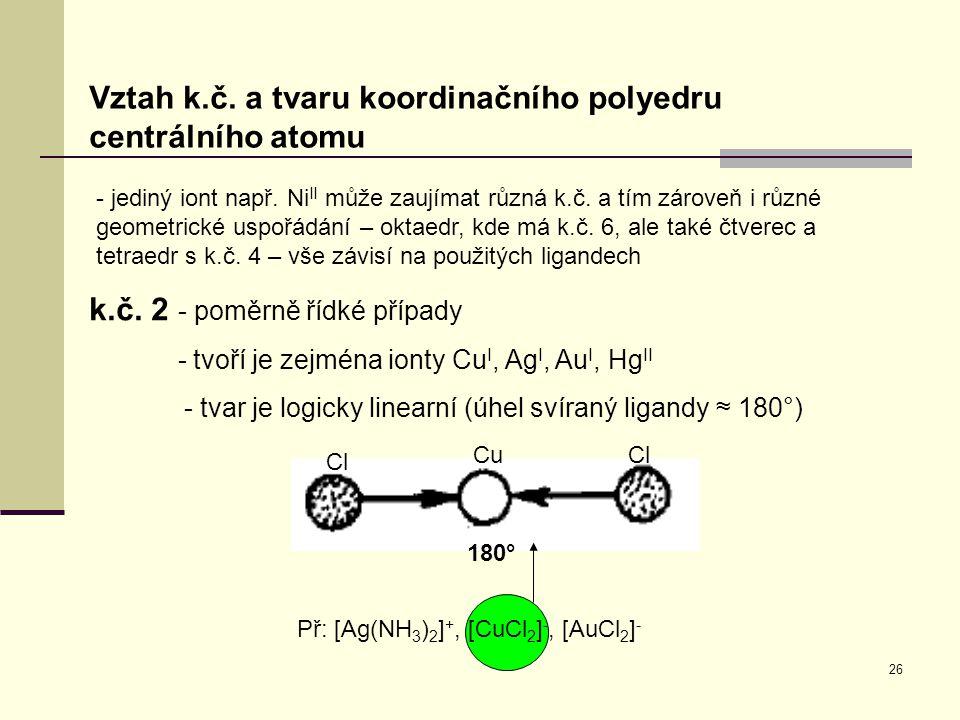 Př: [Ag(NH3)2]+, [CuCl2]-, [AuCl2]-
